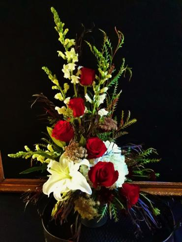Rising Roses Memorial Arrangement
